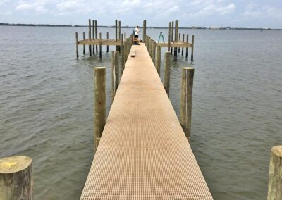 Heavy duty fiberglass decking used by Land and Sea Marine
