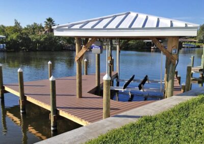 Unique Angled Dock by Land and Sea Marine